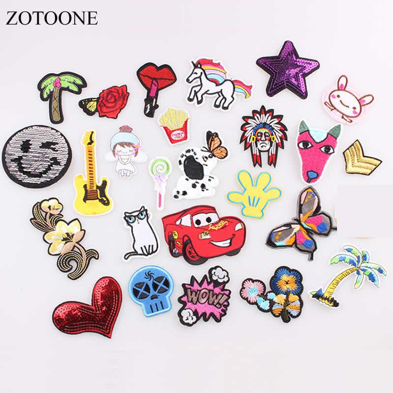 Zotoone lantejoulas gato cão rosa unicórnio remendos para roupas ferro na carta remendos emblemas adesivos costurar em barato bordado remendo b