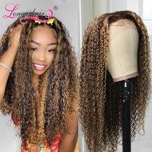 Longqi волосы хайлайтер кружева передний парик # TL412 Ombre бразильские вьющиеся человеческие волосы парик 150% плотность бразильские Remy парики для ...