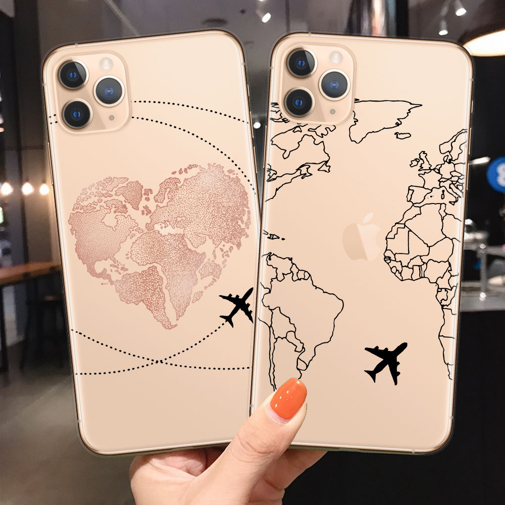 World Map Travel Just Go Phone <font><b>Case</b></font> For <font><b>iPhone</b></font> XS MAX X 11Pro XR 7 <font><b>8</b></font> 6 6s Plus 5 SE Fashion Clear <font><b>Silicone</b></font> Soft Back Cover Coque image