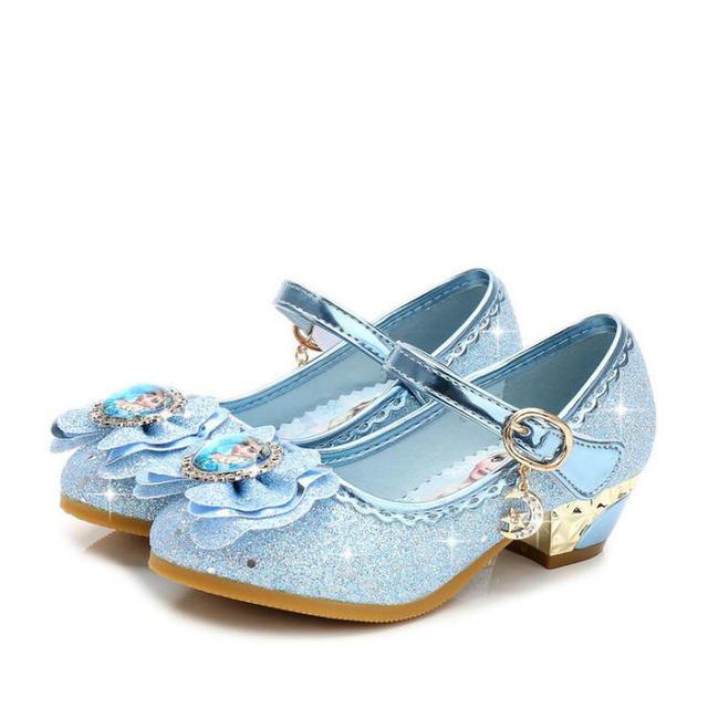 Children Leather Elsa Sandals Child High Heels Girls Princess Summer Anna Shoes Chaussure Enfants Sandals Party Shoes eu 24-36