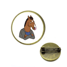 BoJack Horseman Pins Funny Cartoon Brooches Glass Cabochon Backpack Badge Men Lapel Tie Jewelry Gift