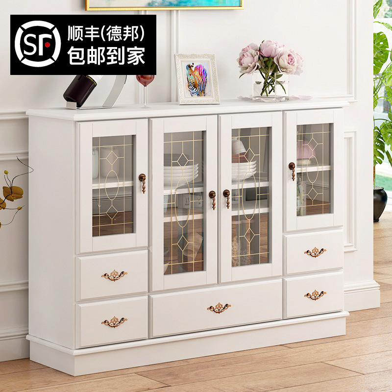 Man Patriarch Sideboards Cabinet Simplicity Solid Wood Cupboard Cabinet Sub-Living Room Tea Cabinet Storage Cabinets Free Instal