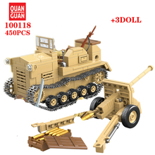 450PCS Japanese 98 tractor and field gun Building Blocks WW2 Military Army Soldier Figures Weapon parts Bricks Toys For Children ww2 japanese army type 98 soldier uniform sets jacket