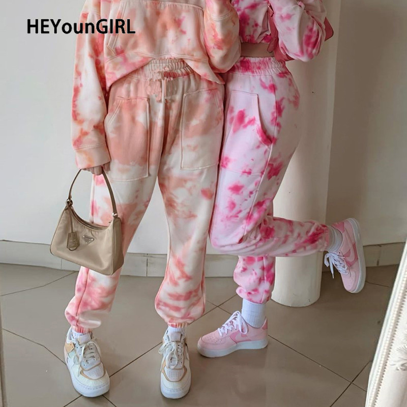 HEYounGIRL Tie Dye Printed Casual Sweatpants Women Pockets High Waist Long Trousers Ladies Thin Harajuku Pants Capris Streetwear