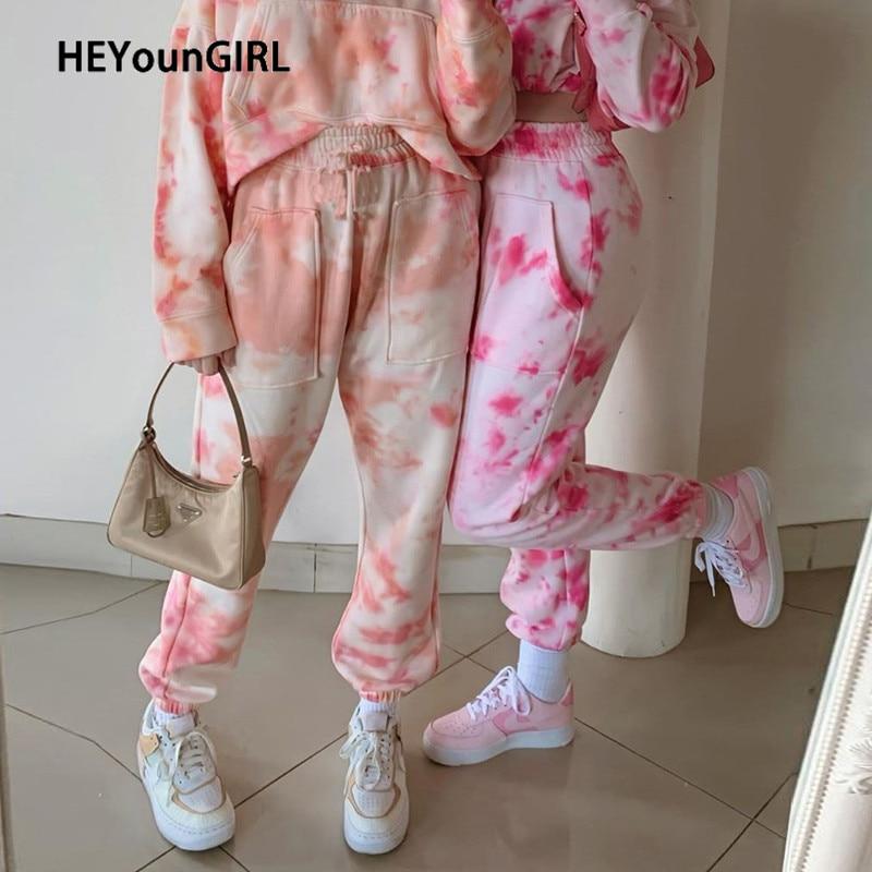 HEYounGIRL Tie Dye Printed Casual Sweatpants Women Pockets High Waist Long Trousers Ladies Thin Harajuku Pants Capris Streetwear