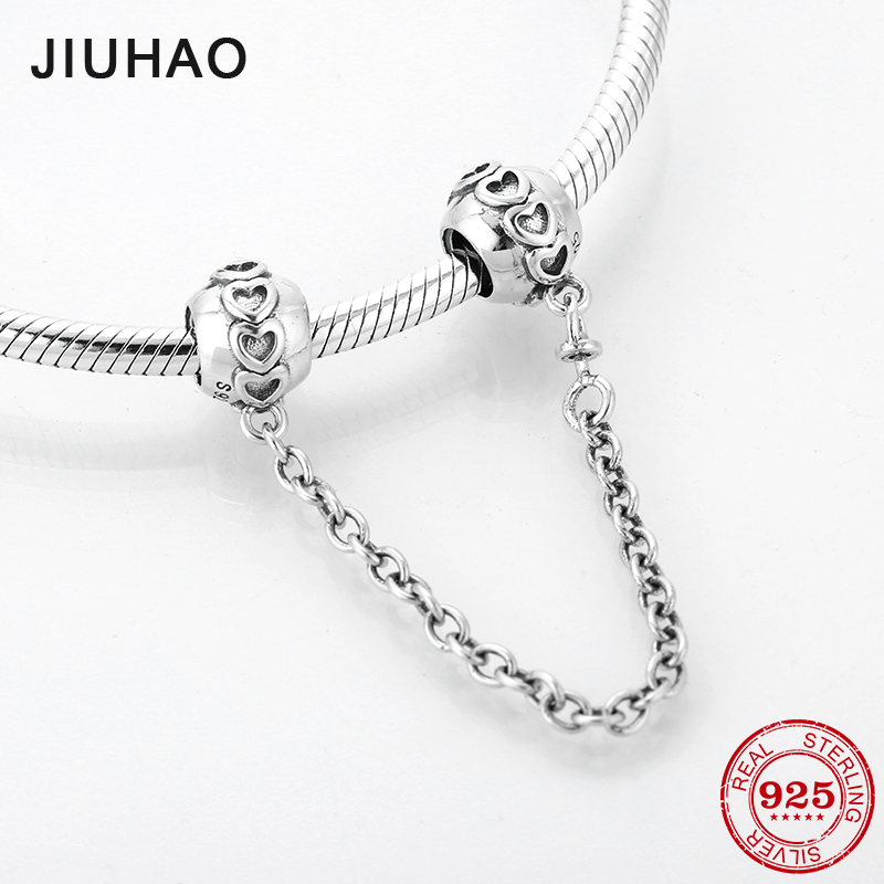 Hot 925 Sterling Silver heart pattern DIY fine Safety Chain Beads Fit Original Pandora Charms Bracelet Jewelry making(China)