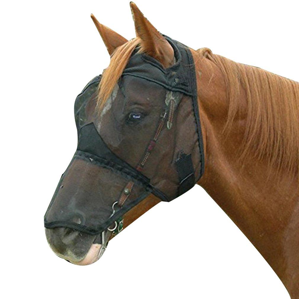 1Pcs Black Horse Face Mask, Breathable Horse Face Mask, Horse Face Mask, Anti-Mosquito Horse Face Mask