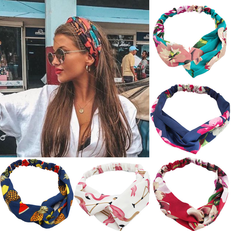 Levao Women Bohemian Florals Elastic Hair Bands Print Headbands Vintage Cross Turban Bandage Bandanas HairBands Hair Accessories