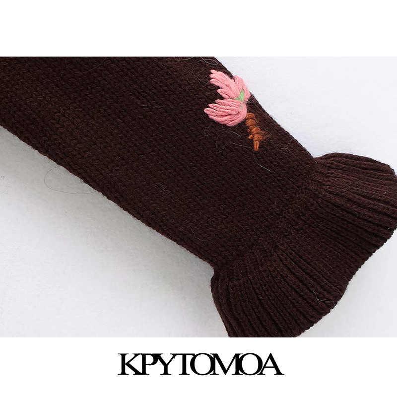 빈티지 달콤한 뜬 자수 자른 니트 스웨터 여성 2020 패션 높은 칼라 긴 소매 여성 풀오버 세련된상의
