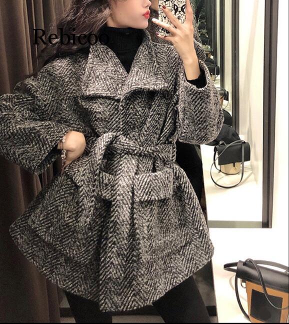 Rebicoo Fashion Winter Wool Coat  New Women Casual Thick Velvet Woolen Coats Female Waist-tie Loose Wool Jacket