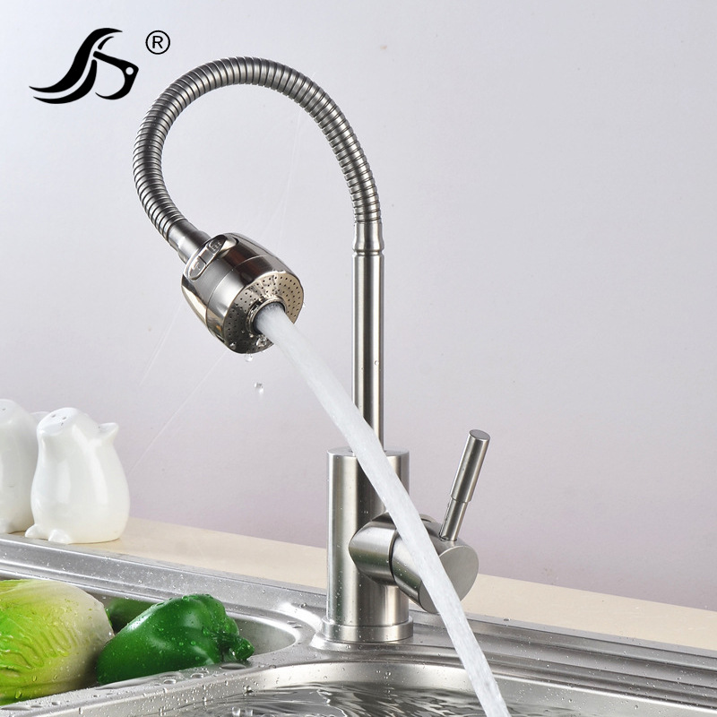 Kitchen 304 Stainless Steel Faucet Hot And Cold Faucet Wash Dishes Amoy Kitchen Sink Rotating Kitchen Sink Washing Leading