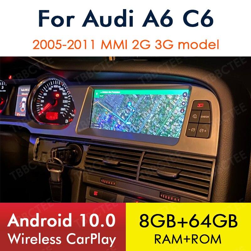 Lecteur multimédia CarPlay sans fil, Android 10, 8 go/64 go, navigation GPS, WiFi, Bluetooth, MMI, 2G/3G, stéréo, pour voiture Audi A6, C6, 4f (2005 – 2011)
