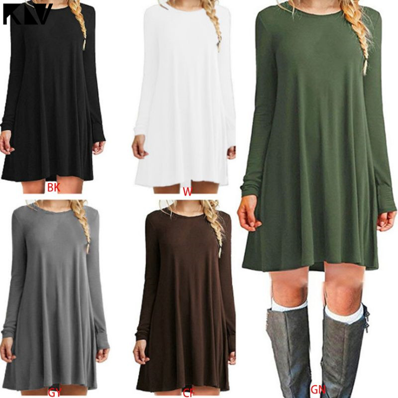Women Plus Size Long Sleeve Loose Midi Long T-Shirt Dress Solid Color Casual Pleated Swing Round Neck Pullover Streetwear S-2XL