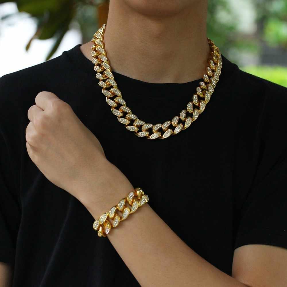 BLING KING 20 มม.หนัก Miami Cuban Link Chain สร้อยคอและสร้อยข้อมือชุด Iced Out Rhinestones เครื่องประดับ Hiphop ผู้ชายผู้หญิง