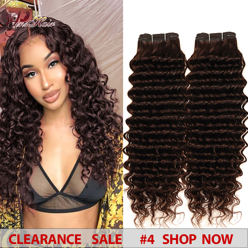Pinshair Deep Wave Peruvian Hair 4 Bundles Dark Brown #4 Color 100 Human Hair Weave Extensions Thick Bundles Deals Non-Remy Hair