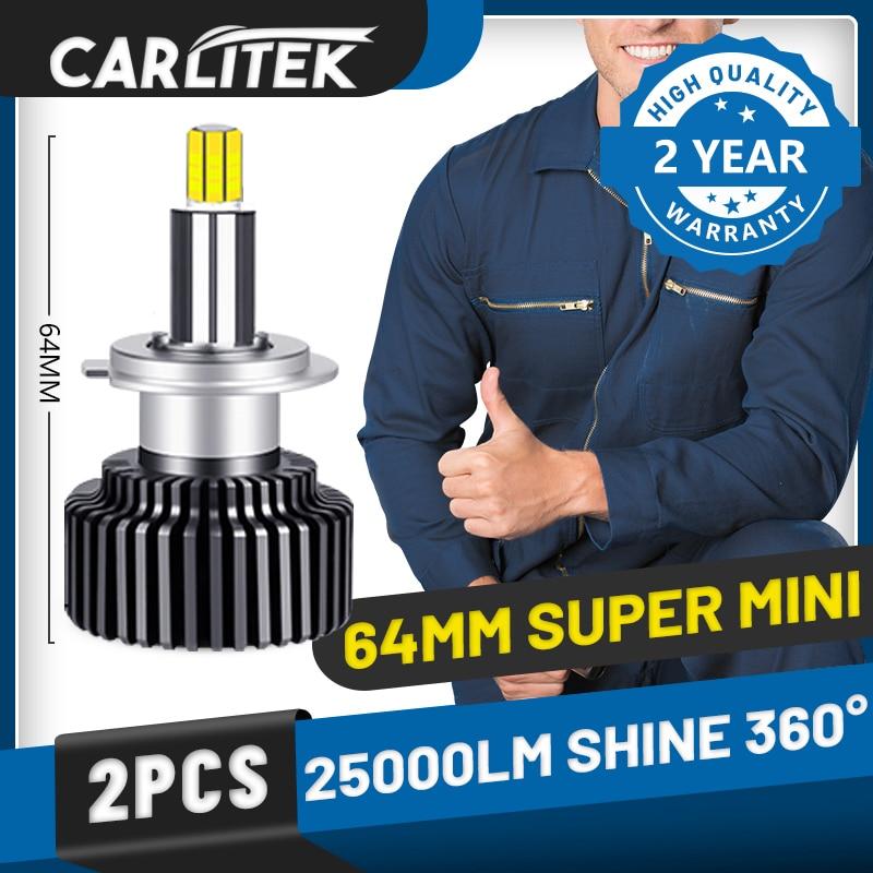 Carlitek h11 h7 h1 lâmpadas de farol led 360 graus 9012 h8 h9 9005 9006 luzes do carro super mini hb4 hb3 lâmpadas para acessórios de automóveis