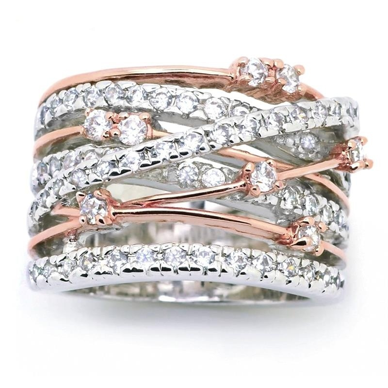 Sparkling Women's Ring Crossover Two-tone Rose Gold Bride Engagement Wedding Band Rings Size 6 7 8 9 10 11 12