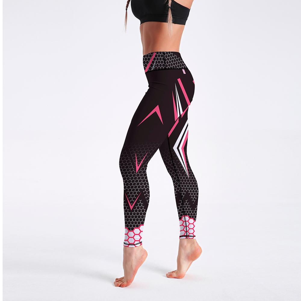 Workout Sporting Elastic Force Breathable Fitness Leggings Pattern Digital Printing Outdoor Sportswear Skinny Leggings For Women
