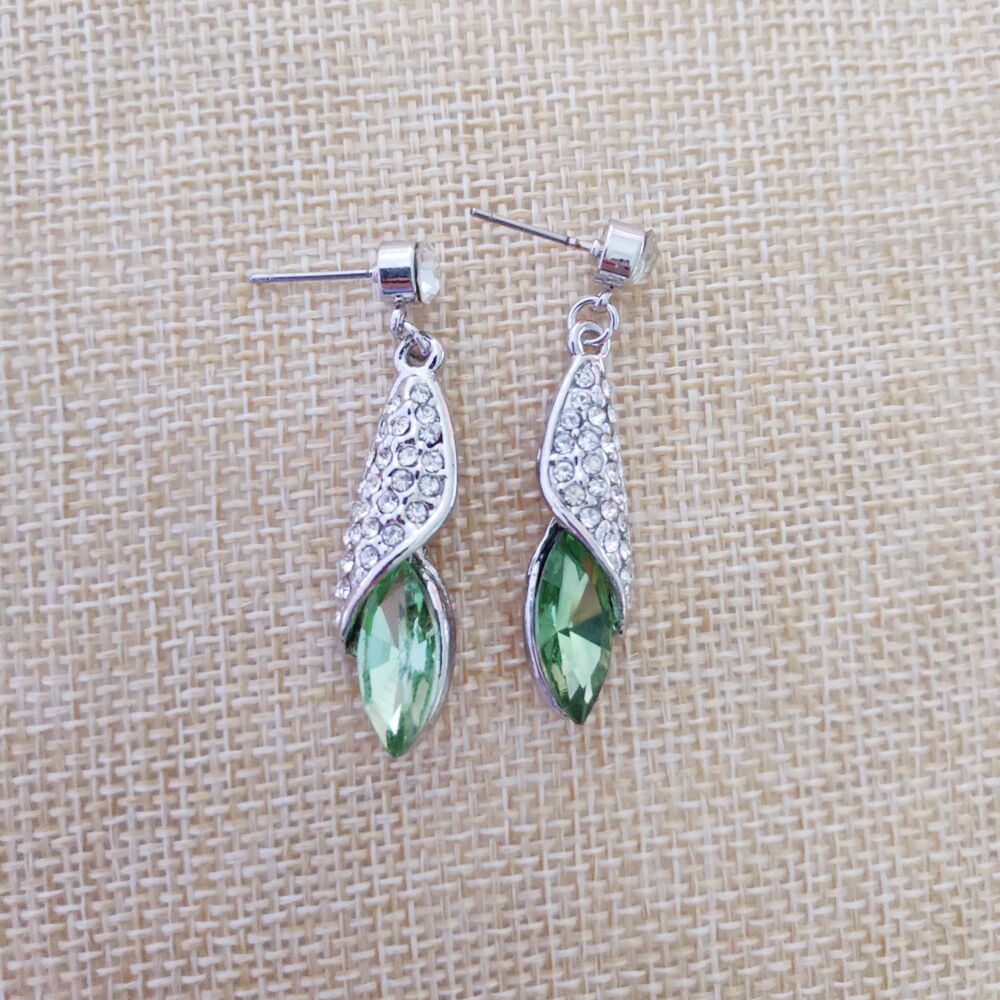 Green-Earrings Bride Silver Christmas-Gift Classic Transparent E071 Ladies 100%Fine
