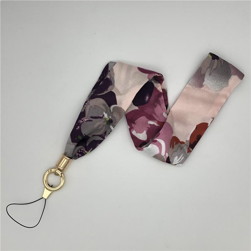 Womens Silk Scarf Phone Lanyard Temperament Fresh Fabric Lanyard for Keys Phone Strap Neck Strap,Black