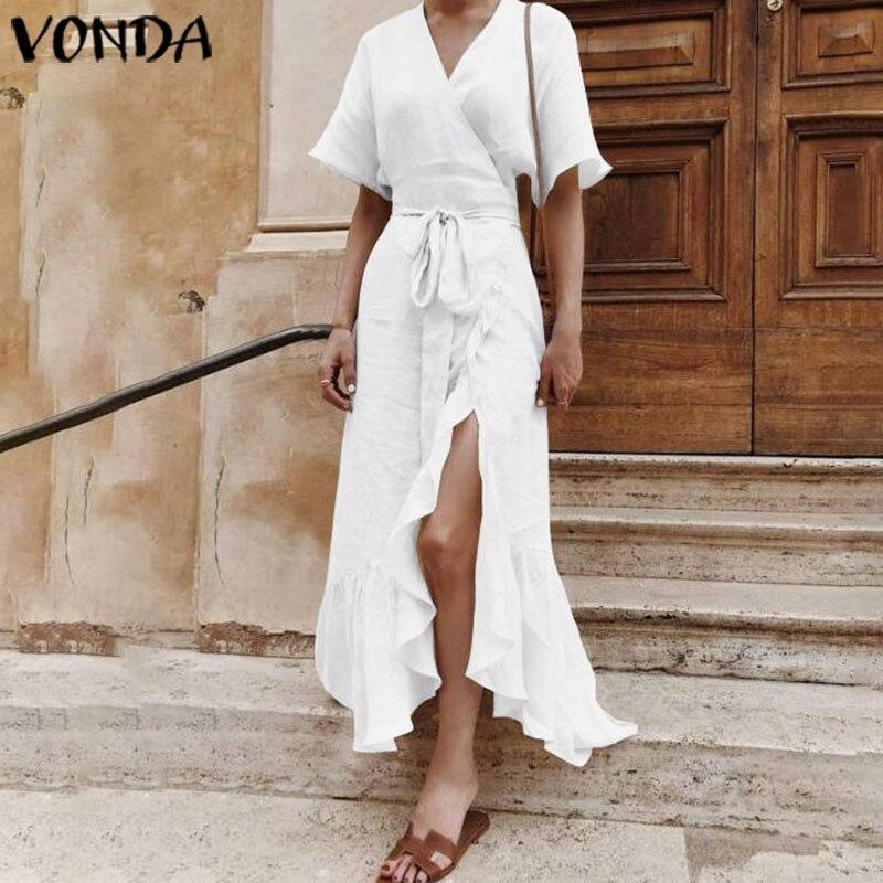 VONDA Women Dress 2020 Summer Bohemian Sexy V Neck Split Party Maxi Long Dress Beach Holiday Vestidos Plus Size Casual Sundress