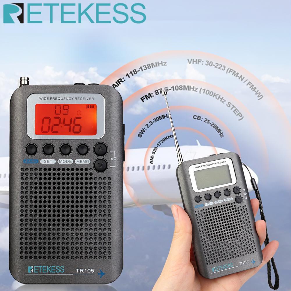 Retekess tr105 portátil aeronaves banda fm/am/sw/cb/ar/vhf digital tuning rádio com temporizador de ligar/desligar função de relógio