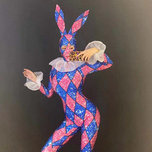 R66 Cosplay party dance wears female rabbit jumpsuit colorful stretched bodysuit stage dance costumes ptinting outfit sequins dj