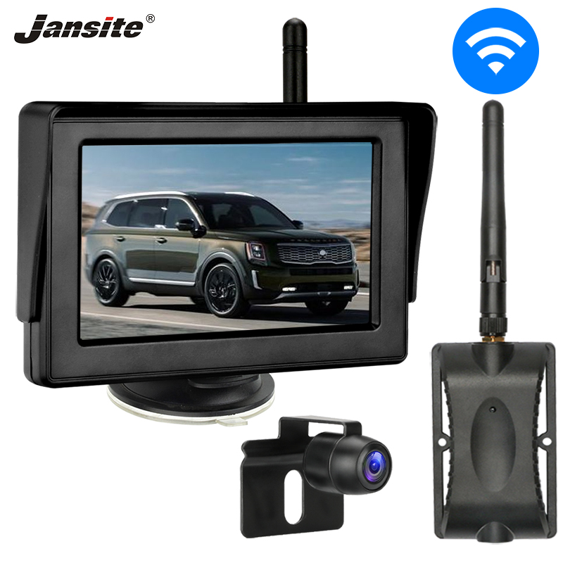 Jansite Wireless Car Camera 4.3 Inch Backup Camera With Monitor Rear View Camera  For Car Pickup Truck SUV RV Minivan 12V
