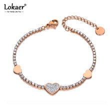 Lokaer Trendy Clay Rhinestone Heart Charm Bracelet For Women Stainless Steel CZ Crystal Link Chain Bracelet For Christmas B19134