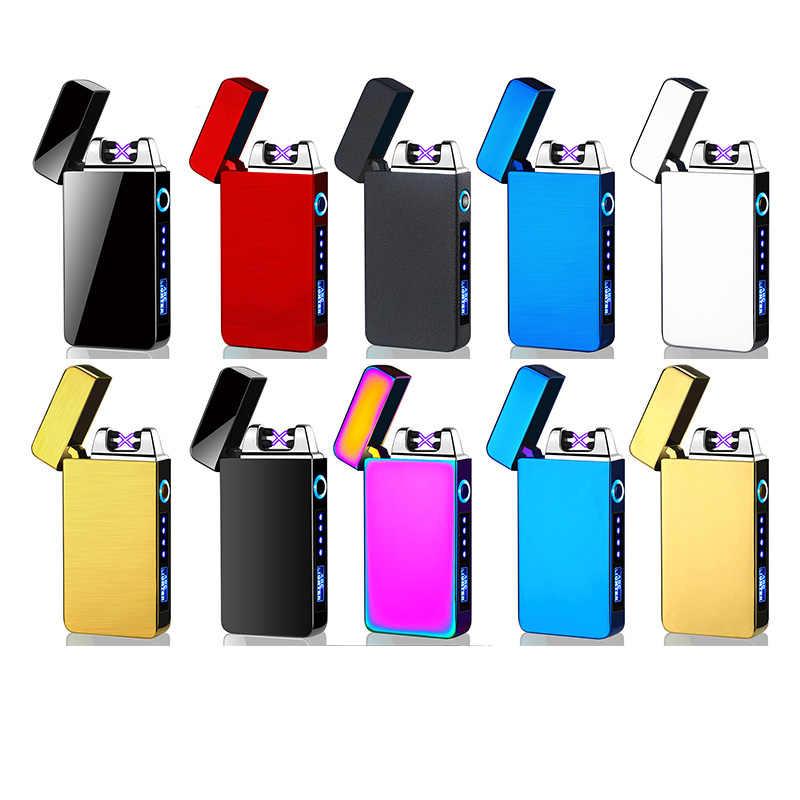 防風デュアルアークライターフレームレス電子のusb充電式電気タバコ用ライターキャンドルled電源表示