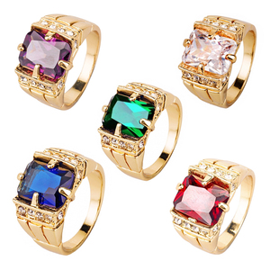 Vintage Noble Royal Natural Crystal Ring Jewelry Five-color Crystal Ring Gold Men's Wedding Ring Size 7 8 9 10 11 12 13 14
