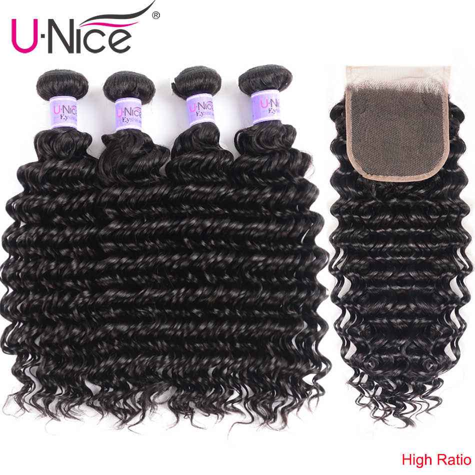 UNice Hair Kysiss Series 8A Deep Wave 4 Bundles With Closure Natural Color Peruvian Virgin Hair With Closure Hair Extension
