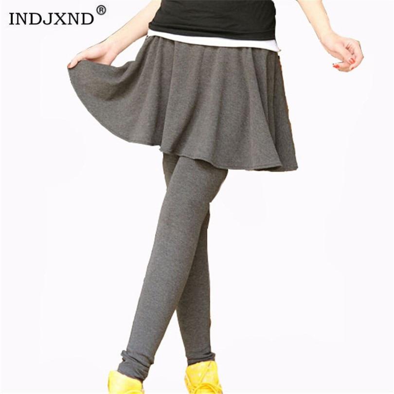 INDJXND Autumn Winter Fittness   Leggings   Women Skirt Elasticity   Legging   Casual Skinny Leggins Skirt Pants Black Gray Warm   Legging