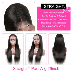 Image 4 - YYong Straight 1x6 T Part Lace Wigs, Lace Frontal Wigs With Swiss Lace Invisible Knots HD Transparent Lace Front Human Hair Wig