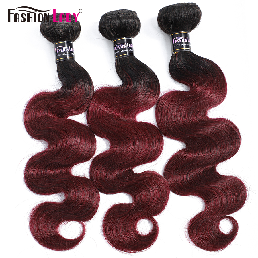 Brazilian Ombre Human Hair Bundles T1b99j Dark Burgundy Bundles Body Wave Fashion Lady Non-remy 3/4 Bundles Deal Human Hair