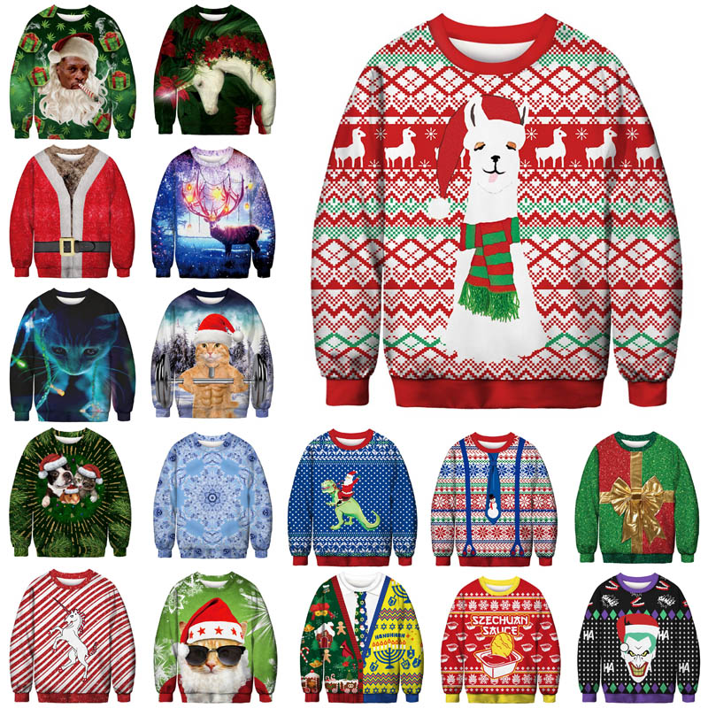 Unisex Men Women 2020 Ugly Christmas Sweater Santa Elf Funny Christmas Fake Hair Jumper Autumn Winter Tops Clothing Wholesale