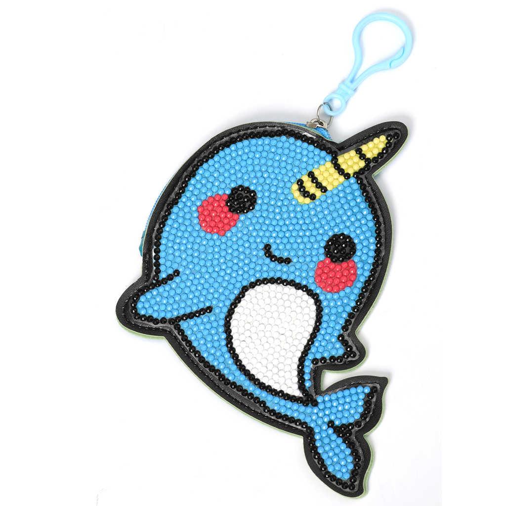 DIY полный дрель алмазная живопись милый синий кит кошелек брелок для ключей Брелоки кулоны стежка вышивка портмоне