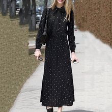 Spring Fall Chic Womens Black Polka Dresses A-Line Bow Collar Pullover Maxi Sweet Retro Office