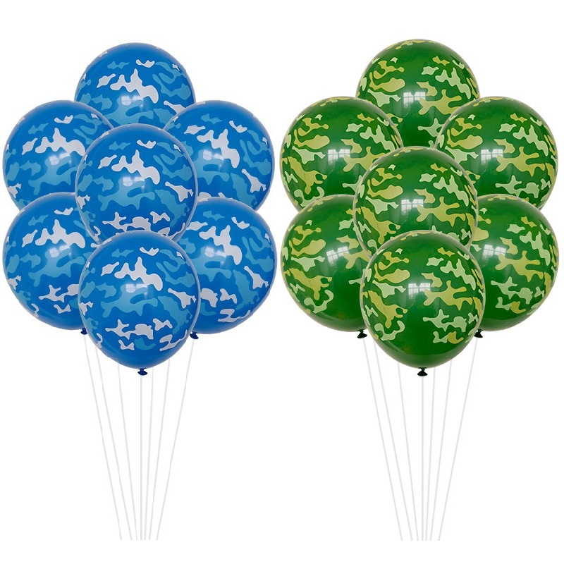 10pcs Camouflage air force army latex balloons globos party Baby boy girl soldier Birthday Decorations green blue spot map sky|Ballons & Accessories|   - AliExpress