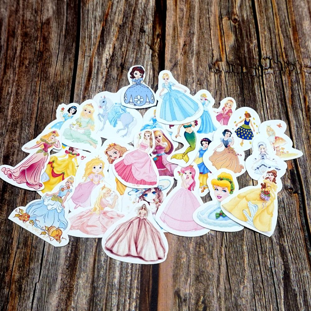 27pcs Lovely Princess Stationery Stickers Cute Photo Albums Waterproof Stickers DIY Laptop Guitar Party Sticker Classic Toy Gift