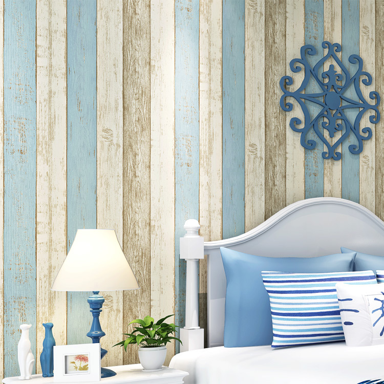 Retro Nostalgic Mediterranean Stripes Non-woven Wallpaper Bar Cool Fashion Clothing Store Retro Imitation Wood-grain Wallpaper