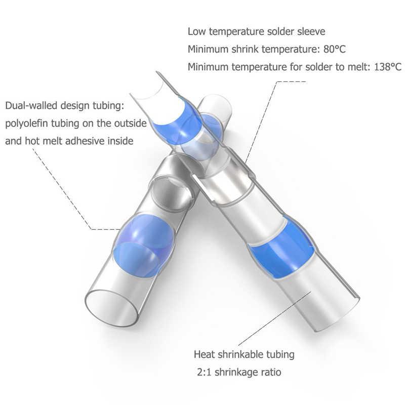 500pcs Solder Seal Sleeve Heat Shrink Butt Wire Connectors Terminals Waterproof