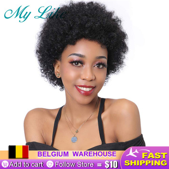 My Like Pixie Cut Wig Brazilian Fumi Curly Human Hair Wigs Natural Black Afro Kinky Non remy Short for Women - discount item  52% OFF Human Wigs( For Black)