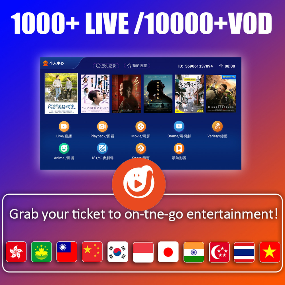 IPTV Subscription For Android Tv Box EVPAD Pro For Chinese Korea Japan Indonesia HK TW Singapore Malay US Philippines Thailand