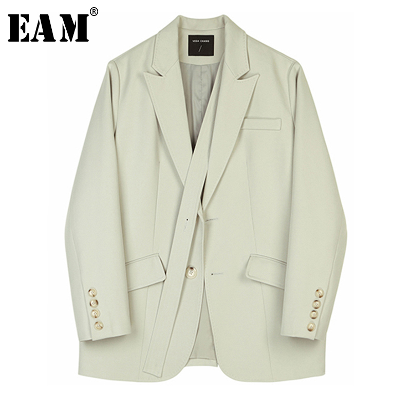 [EAM]  Women Bandage Temperament Spliced Blazer New Lapel Long Sleeve Loose Fit  Jacket Fashion Tide Spring Autumn 2020 1B767