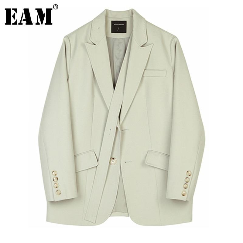 [EAM]  Women Bandage Temperament Spliced Blazer New Lapel Long Sleeve Loose Fit  Jacket Fashion Tide Spring Autumn 2020 1B767