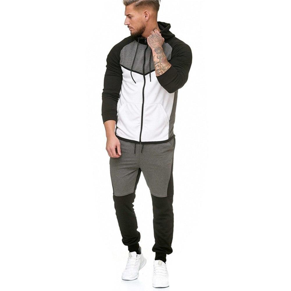 New Style MEN'S Suit Fleece Hoodie Sweatpants Case Outdoor Sports Casual Mixed Colors Gradient Coat Men's