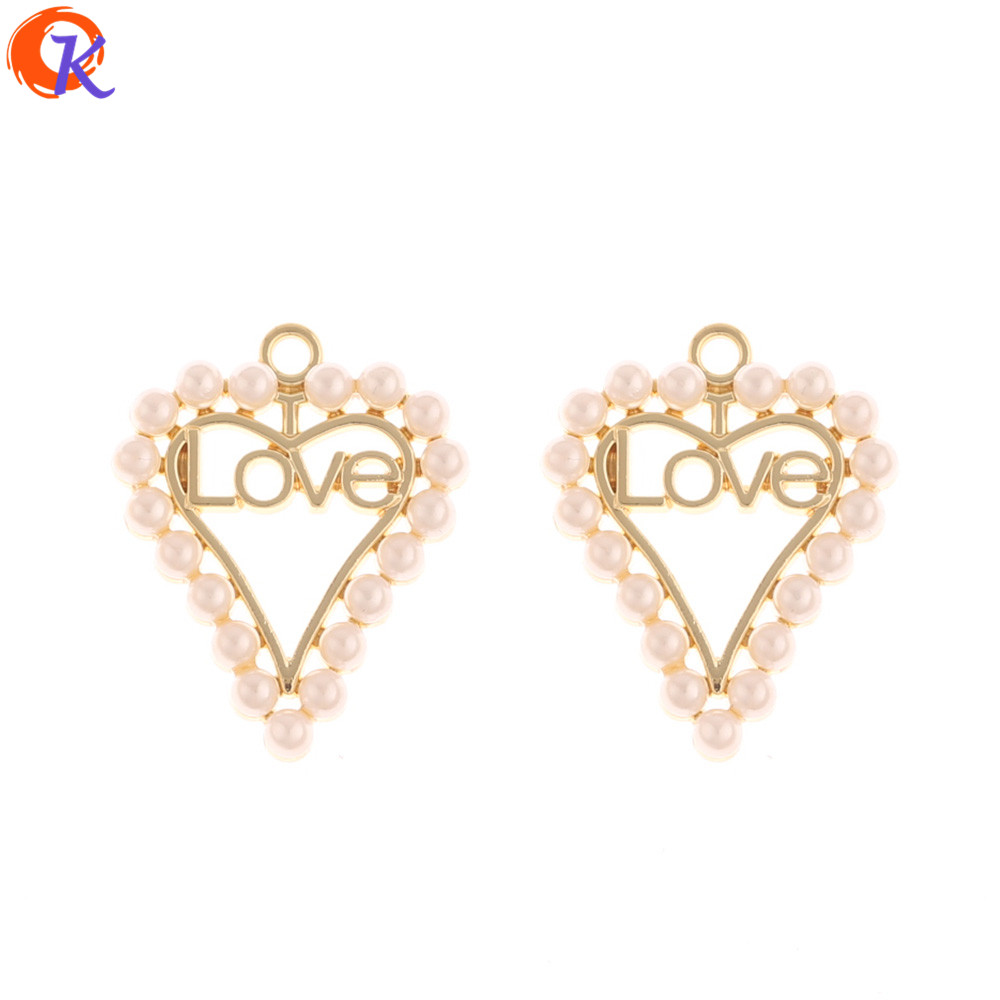 Cordial Design 50Pcs 21*26MM Jewelry Accessories/Earrings Making/Imitation Pearl/Hand Made/Heart/Earring Findings/DIY Charms