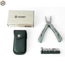 Ganzo multi alicate g202 24 ferramenta em uma mão ferramenta chave de fenda kit portátil inoxidável multitool edc dobrar faca alicate