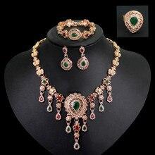 Bohemian Rhinestone Hollow Water Drop Heart  Pendant Necklace Earring For Women Wedding Bridal Ring Bracelet Jewelry Sets stylish rhinestone heart hollow out pendant necklace for women